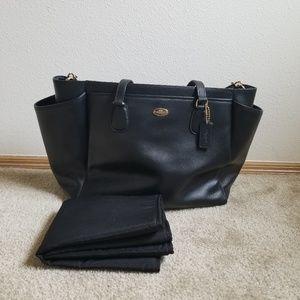 Black Leather Coach Diaper Bag